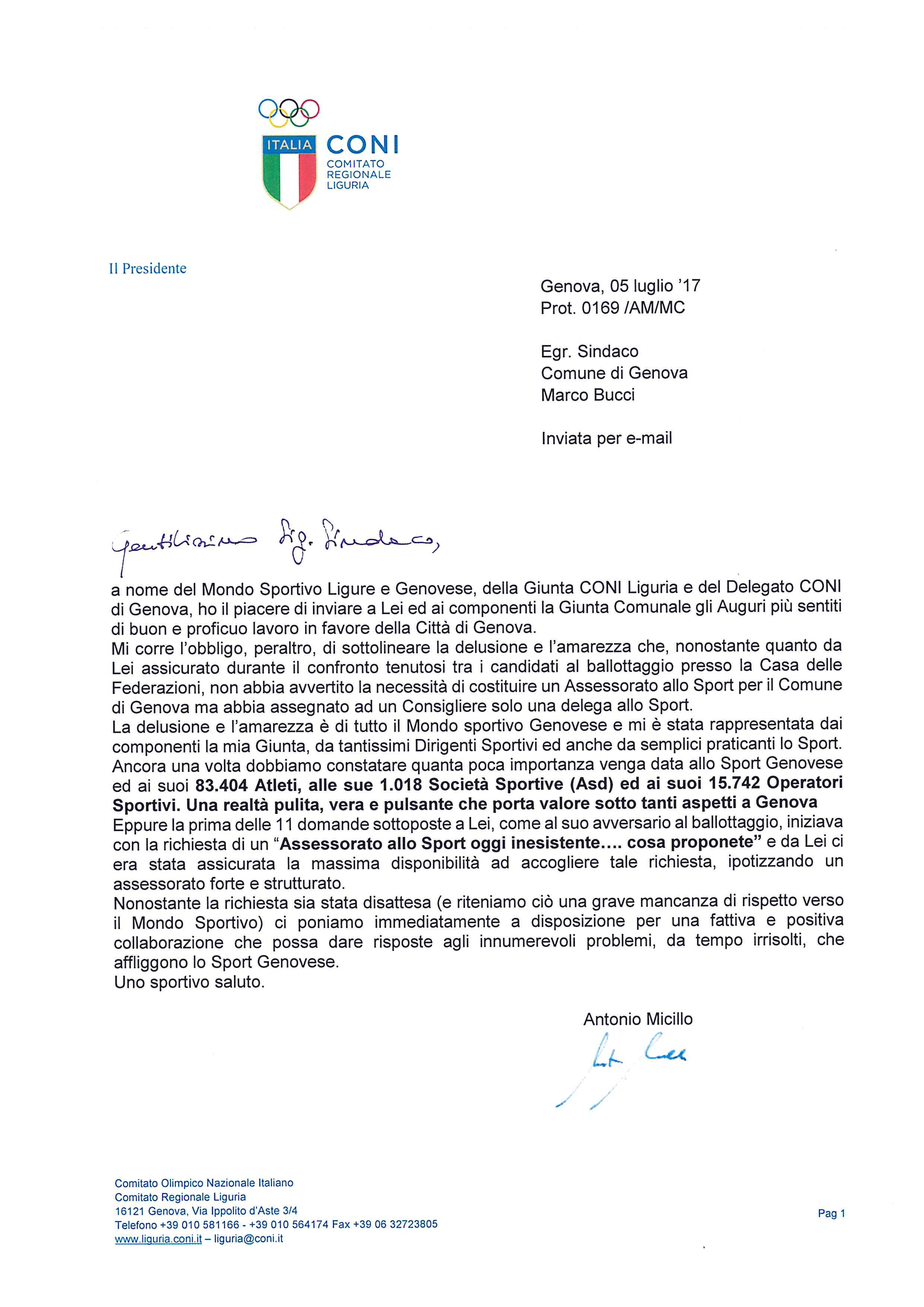 Lettera al nuovo sindaco del comune di genova for Lettera di incarico prestazione servizi